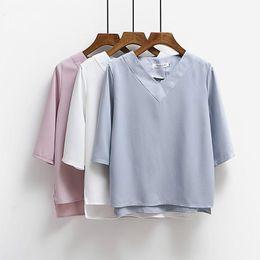 $enCountryForm.capitalKeyWord Canada - 2017 Summer Tops V-neck Chiffon Blouse Shirt Women Office Ladies Top Work Shirts Clothing Korean Plus size S-XL White Blue Pink