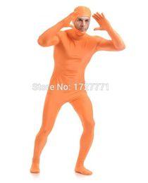 Orange Halloween Costumes Canada - (LS93)Orange Shiny Lycra Spandex Tights Unisex original Open Face Fetish Zentai Suits Halloween Costume