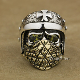 motorcycle helmet sizes 2021 - LINSION 925 Sterling Silver Motorcycle Helmet Skull Ring Olive Green CZ Eyes Brass Mask Mens Biker Rock Punk TA27 US Size 7 to 15