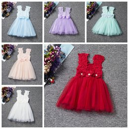 blue tutu skirt girls Canada - Baby girls summer dress pink kids dresses 2017 girl's lace tutu skirts bowknot lace dress girl 6 colors