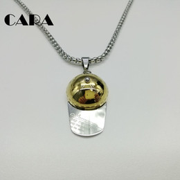 $enCountryForm.capitalKeyWord NZ - CARA New arrival 316L Stainless steel hip hop baseball hat pendant necklace mens sports popcorn chain necklace for mens jewelry CARA0124