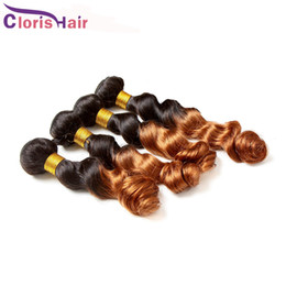 two toned brown hair weave 2020 - Peruvian Ombre Hair Extensions Brown Two Tone 1B 30 Colored Human Hair Weave 3pcs Unprocessed Peruvian Loose Curly Wave