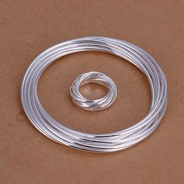 лучший подарок Десять кругов посеребренные комплекты украшений для женщин WS304, хороший 925 серебряное ожерелье браслет серьги кольца комплект