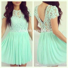 Barato Chiffon Floral Mini Vestidos-2016 Girly Evening Dress Mint Green Manga Curta Lace Top Flower Chiffon Backless Mini Dress Roupa Floral Frete Grátis WH502