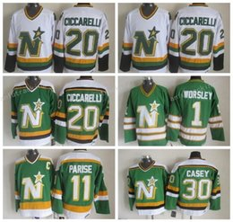 Throwback Men 20 Dino Ciccarelli Jersey Dallas Stars Ice Hockey 1 Gump  Worsley 11 J.P. PARISE 30 Jon Casey Vintage CCM Green White Jerseys ... ef979e628