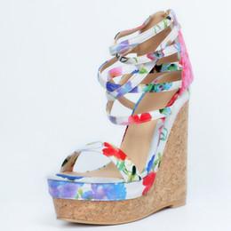 $enCountryForm.capitalKeyWord UK - Floral Print Women Sandals High Heels Open Toe Platform Wedge Heels Plus Size 34-45 Ladies Sandles High Heels Sandals Women