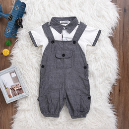 Bebé Caliente Corto Baratos-Mikrdoo Hot Sale Baby Boy Clothes Kids Body Infant Coverall Recién Nacido de Manga Corta Polo Blanco Algodón Traje Traje de Niños