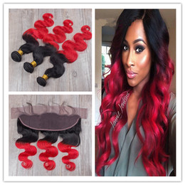 2tone Hair Canada - Brazilian Red Ombre Virgin Human Hair 3Bundles With Frontal Body Wave 2Tone 1B Red Dark Root Ombre 13x4 Lace Frontal Closure With Weaves