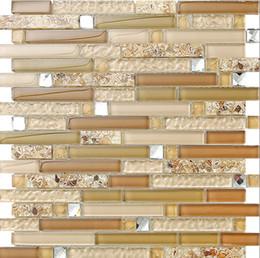 Golden Glass Mix Stone Shell Tiles Modern Style Kitchen Backsplash Bathroom Home Wall Decoration Mosaic Shell Tiles Lsbk52