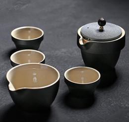 $enCountryForm.capitalKeyWord Canada - Portable Travel Outdoor Teapot Tea Cup Set Creative Ceramic Pottery 3 Teacup+1 Gaiwan Teapot Tea Tray Creative Home Decor