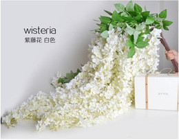 long white bouquets NZ - 1.6 Meter Long Pretty Artificial Silk Flower Wisteria Vine Rattan For Wedding Party Decorations Bouquet Garland Home Ornament DHL free