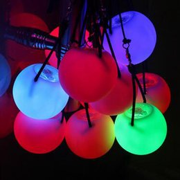 Led Poi Mayorista Baratos-Venta al por mayor-Pro Flash intermitente LED Multi-Color Glow POI Thrown bolas de iluminación para la danza del vientre profesional Props Waterproof
