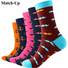 12 Pair Socks Men Canada - Wholesale- Match-Up MUSTACHE ANCHOR Man Combed Cotton Socks US 7.5-12 (5 pairs lot )