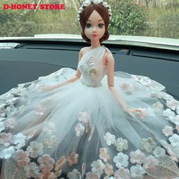 Discount classic car novelties - 30cm Creative car interior decorations lovely bride wedding ornaments high-grade Princess Wedding Doll Girl with dress f