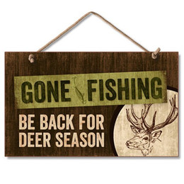 """Woods Wall Decor Canada - Rustic Country Gone Fishing Man Cave Hunting Sign Wall Decor wood hanging Plaque 9"""" x 6"""""""