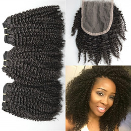 Afro Hair Extensions Bundles Australia - Free Part Afro Kinky Curly Top Closure With 3 Bundles Peruvian Curly Human Hair Extensions 8-30inch LaurieJ Hair