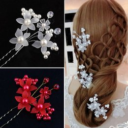 orchid hair clips wedding NZ - Elegant Wedding Bridal Hair Accessories Pearls Orchid U Pins Women Party Head Pieces Bridal Head Pieces