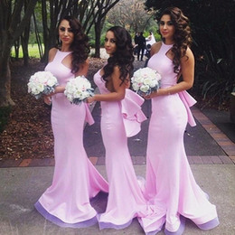 Barato Longos Vestidos De Dama De Honra Quentes-Hot Sale 2017 Pink Mermaid Bridesmaid Dress Long Satin O Neck Spaghetti Strap Tiered Back Design vestido longo