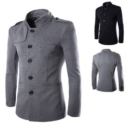 Barato Blazer De Blusa De Casaco Fino-New Arrivals Winter Men Casual Stand Collar Chinese Tunic Suit Blazer Casacos Black Single Breasted Slim Jacket and Coat M-2XL
