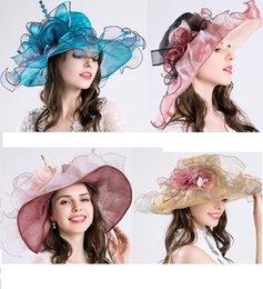 $enCountryForm.capitalKeyWord Canada - Elegant Blue Purple Fine gauze large brim hat party church wedding hats Fashion hat Sun Hats