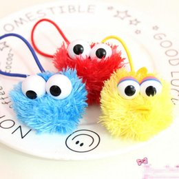 Barato Fitas De Rua De Sesame-Nova diversão 3 cores Sesame Street Elmo Monster Headband Plush Cartoon Cookie Adorable Eyes Hairbands Hair Ribbons For The Kids