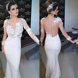 Discount white pearl beach - 2018 Lace Mermaid Arabic Beach Wedding Dresses Sheer Neck 3 4 Long Sleeves Pearls Bridal Dresses Custom Made Wedding Gow