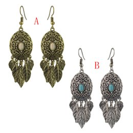 Wholesale idealway New Fashion Bohemian Gold plated Turquoise Leaves Drop dangle earrings Woem s Engagement Gift