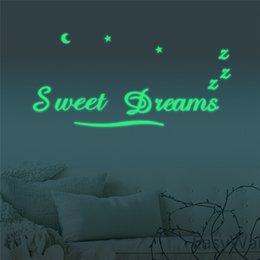 $enCountryForm.capitalKeyWord Canada - Luminous SWEET DREAMS 3D Wall Sticker Glow In The Dark Fluorescent Wall Stickers The Letters For Kid's Room Decor