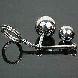 Discount double plug chastity - Stainless Steel sex toys Double Ball Anal Plug With Cock Ring Men Anal Butt Plug Chastity Device