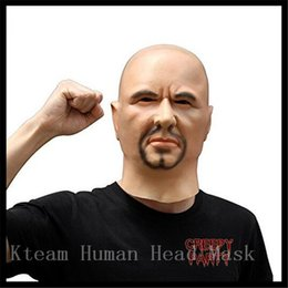 Wholesale Top Grade Artificial Man Latex Mask Hood Overhead Wigs beard Human Skin Disguise Prank Halloween makeup costume Realistic silicone Mask Toy
