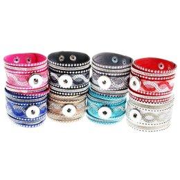 Noosa chunk pulseira de couro genuíno das mulheres strass pulseiras botão de pressão banda larga pulseiras nova chegada