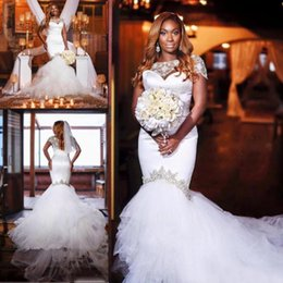 $enCountryForm.capitalKeyWord Canada - Hot Sale 2017 White Satin And Tulle Mermaid Wedding Dresses Cheap Lace Short Sleeve Beaded Long Bridal Gowns Custom Made EN11252