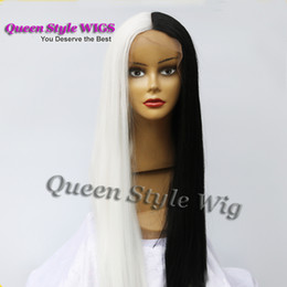 cosplay white lace front wig NZ - Synthetic Heat Resistant Two Tone Black Joint White Color Hair Machine  Lace Front Wigs for Woman  Drag Queen Cosplay Games Party