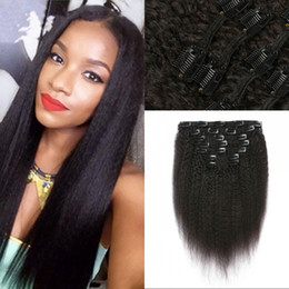 AfricAn remy hAir online shopping - Mongolian Clip in Kinky Straight Hair Extensions set Non remy Human Hair for African American FDSHINE