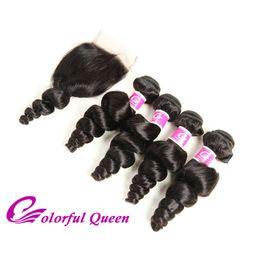 Peruvian Human Hair Loose Curl NZ - Peruvian Hair 4 Bundles with Closure 5Pcs Lot Peruvian Loose Wave with Closure Human Virgin Hair Extension with Lace Closure Bouncy Curl