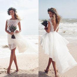 $enCountryForm.capitalKeyWord Canada - Modest 2019 Ivory Lace Short Beach Wedding Dresses Cheap Sexy Backless Bateau High Low Boho Bridal Gowns Custom Made China EN2141