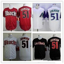randy johnson jersey cheap arizona diamondbacks 51 vintage stitched black red white best quality bas