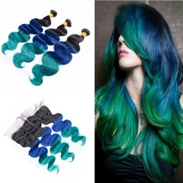 $enCountryForm.capitalKeyWord NZ - Ombre Body Wave Hair Weft With 13*4 Frontal Three Tone 1B Blue Green Virgin Hair Weaves With Lace Frontal Closure