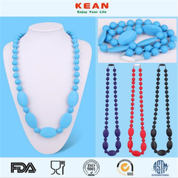 $enCountryForm.capitalKeyWord Australia - Newest Food Grade Silicone Teething Necklace with Oval Beads for Mommy Baby Chew Necklace Nursing Jewelry Christmas Gift
