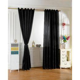 Vente en gros Nouveau 2 pcs / set 100 * 250 noir Rideau Fenêtre Rideaux Pour Enfants Garçons Filles chambre Salon Elegent Bule Drapes Cortinas para sala