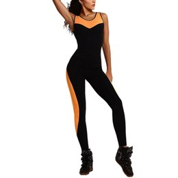 Mode De Combinaison Étanche Pas Cher-Vente en gros - iSHINE Deux couture en couture Fashion Tight Tan Pants Femme Back Cross Hollow Out Long Jumpsuits