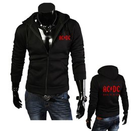 Barato Hoodie Magro Coreano-Venda por atacado - 2016 New Fashion Autumn Men's Hoodies AC / DC Print Men Jacket Hooded de alta qualidade Autumn Winter Coreano Slim Fit Man Sweatshirts
