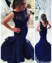 $enCountryForm.capitalKeyWord Canada - Dark Davy Mermaid Prom Dresses 2017 Backless Crystal Lace Applique Evening Wears Sweep Train Sleeveless Beads Plus Size Formal Party Gowns