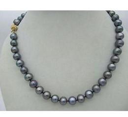 3b6f87aa9308 Clásico AAA 9-10 mm tahitiano negro collar de perlas redondo 18 pulgadas  14k cierre de oro