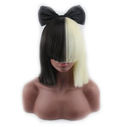 synthetic blonde hair half wig 2019 - no lace Daily wigs Cosplay Hair Peruca Pelucas Short Paragraph Straight Synthetic Hair Cosplay Wig With Bangs Half Black