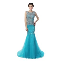 Robe De Bal Pas Cher-Véritable échantillon Scoop Neck Mermaid Prom Robes longues Robe de balayage Étincelant Crystal Ice Blue Cheap Long Prom Gowns
