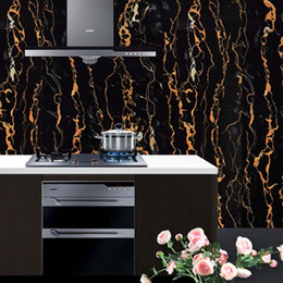 Wholesale 5m Black Marble Waterproof Vinyl Self Adhesive Wallpaper Modern Contact Paper For Kitchen Cabinet Table Wall Stickers Home Decor