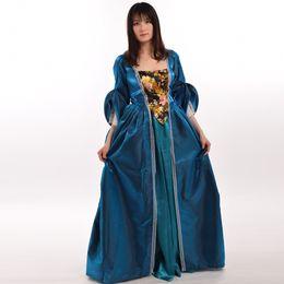 Cosplay Medieval Canada - Women Medieval Gothic Pirate Irish Costume Retro Victorian Renaissance Halloween Cosplay Dress+Skirt+Pannier High Quality Fast Shipment