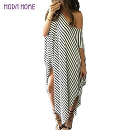 bf681d34407 Wholesale- 2016 Women Summer Dress Long Maxi Loose Dress Striped Batwing Sleeve  Off-shoulder Split Casual Beach Wear Plus Size Vestidos