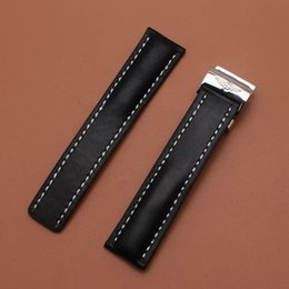 Wholesale New Arrival Watchbands Straps Smooth Black Cowhhide Leather Straps Bracelet for brand wrist watches bands mens mm mm black high quality